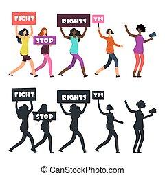 internacional, mulheres, protesters, andar, ligado,...