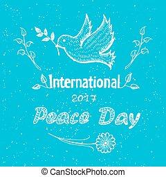 internacional, paz, día, cartel, con, paloma, vuelo