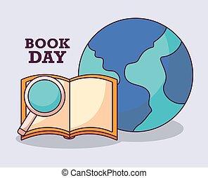 internacional, planeta, libro, día, cartel, tierra