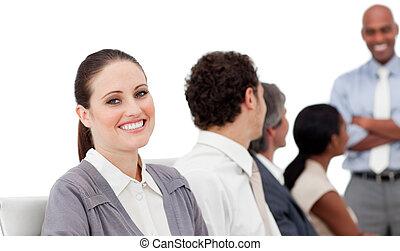 internacional, positivo, presentación, empresarios
