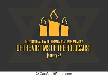 internacional, poster., recuerdo, víctimas, 27., día, conmemoración, day., bandera, plano de fondo, memoria, vector, enero, holocaust., holocausto, illustration., plantilla, eps10