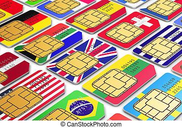 internacional, sim, tarjetas, con, banderas
