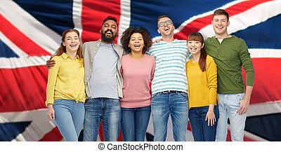 internacional, sonreír feliz, grupo, gente