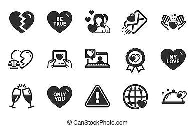 internacional, usted, divorcio, amor, set., cena, premio, interrupción, signs., vector, arriba, solamente, abogado, iconos, romántico