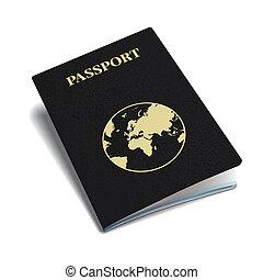 internacional, vector, globe., pasaporte