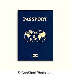 internacional, vetorial, cobertura, passaporte, modelo