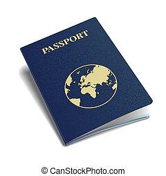 internacional, vetorial, globe., passaporte