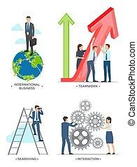 internacional, vetorial, ilustração negócio