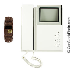 Internal and external video intercom equipment isolated on...