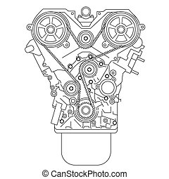 Internal combustion engine, as seen from in front. Vector...