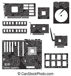 internal desktop computer components and circuits eps10