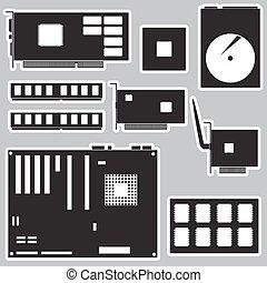 internal desktop computer components black stickers eps10