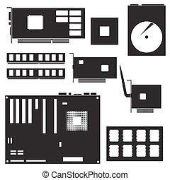 internal desktop computer components black symbols eps10