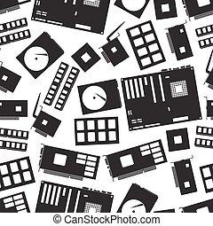 internal desktop computer components seamless pattern eps10