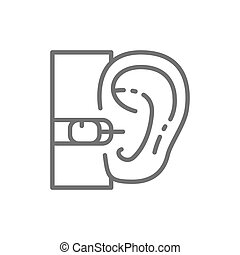 Vector internal hearing aid line icon. Symbol and sign illustration design. Isolated on white background