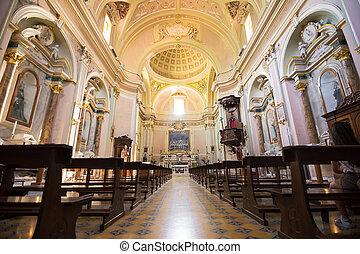Internal nave of the Church of San Nicola in Villa Santa Maria in provicia of Chieti (Italy)