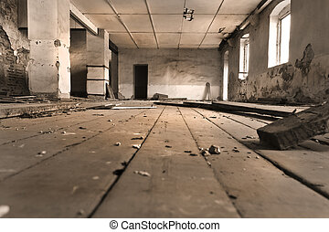 Internal perspective - Interior of an old abandoned soviet...