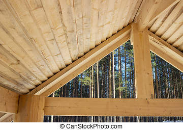 Internal surface of a wooden primitive roof, arbour