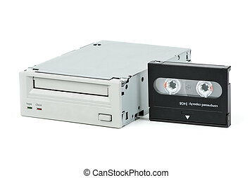 Internal tape drive unit and cassette isolated on the white...