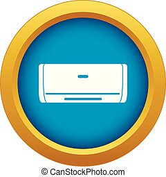 Internal unit air conditioner icon blue vector isolated on...