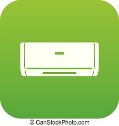 Internal unit air conditioner icon digital green