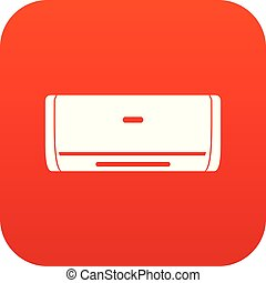 Internal unit air conditioner icon digital red