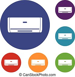 Internal unit air conditioner icons set