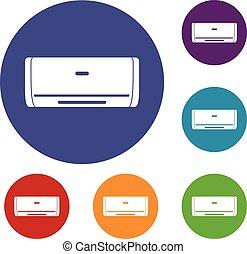 Internal unit air conditioner icons set