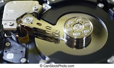 Internals of SATA hard disk drive - Closeup internals of...