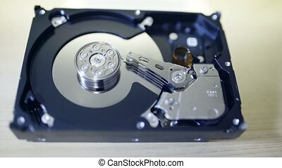 Internals of SATA hard disk drive, shallow depth of field,...
