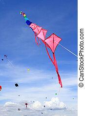 internati, thaïlande, cerfs volants, coloré, 12e