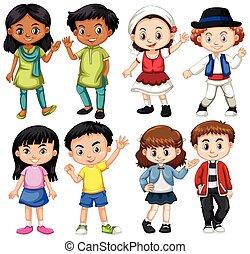 internation, groupe, enfants