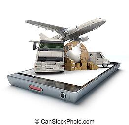 internationaal, app, vervoeren