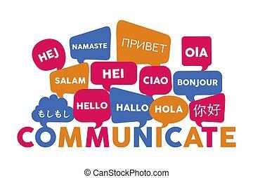 internationaal, concept, taal, communicatie
