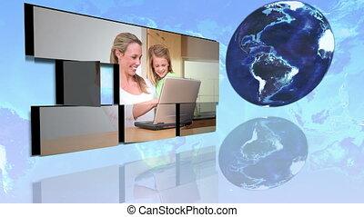 internationaal, families, gebruik, intern