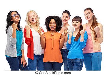 internationaal, glimlachen gelukkig, groep, vrouwen