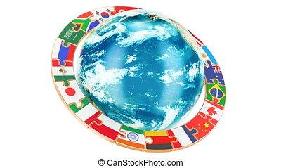 internationaal, globale mededeling, concept, met, ronddraaien, aardebol, 3d, vertolking