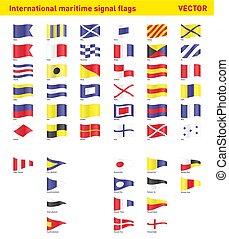 internationaal, signaal markeert, maritiem
