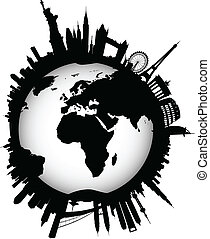 internationaal, skyline, globe, wereld