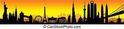 internationaal, skyline, ondergaande zon