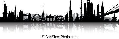 internationaal, skyline, vector