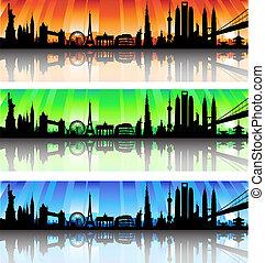 internationaal, skyline, vector, set