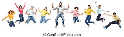 internationaal, springt, groep, vrolijke , mensen