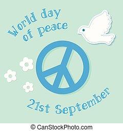 internationaal symbool, vrede, poster., dag