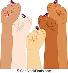 internationaal, vrouw, fist, verscheidenheid