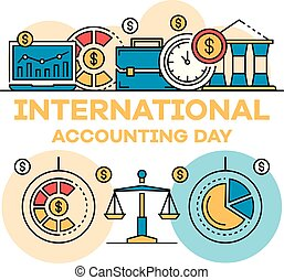 International accounting day banner, outline style