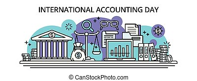 International accounting happy day banner, outline style