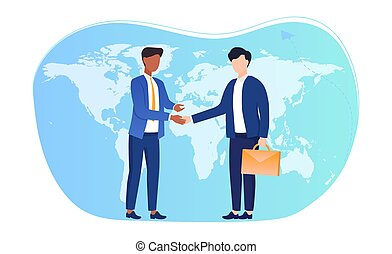 International agreements concept. Two entrepreneurs conclude an agreement and shake hands against the background of the world map. Flat cartoon vector illustration