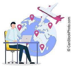 International Air Shipping, Man Work at Office