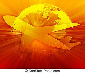 International air travel, airplane over globe Americas